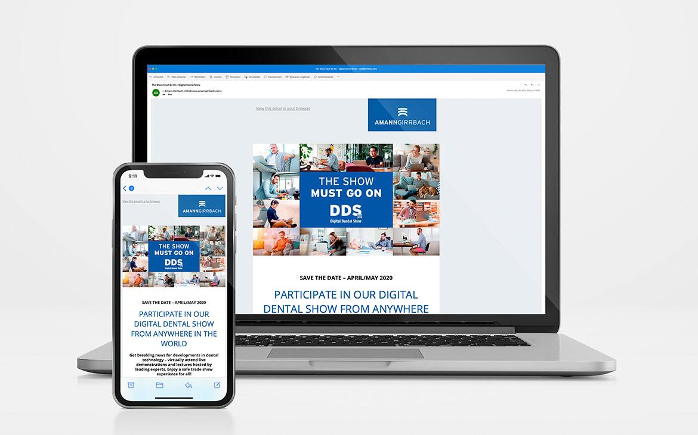 Amann Girrbach Newsletter für DDS auf Laptop und iPhone Mockup