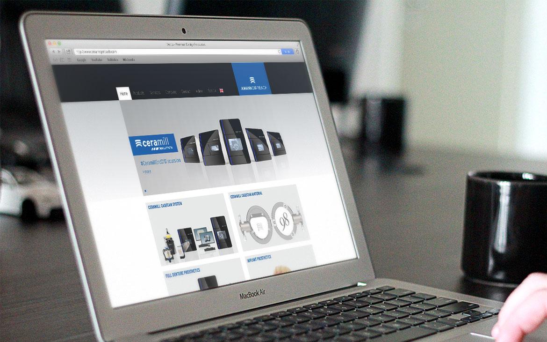 Amann Girrbach Startseite auf Laptop Mockup