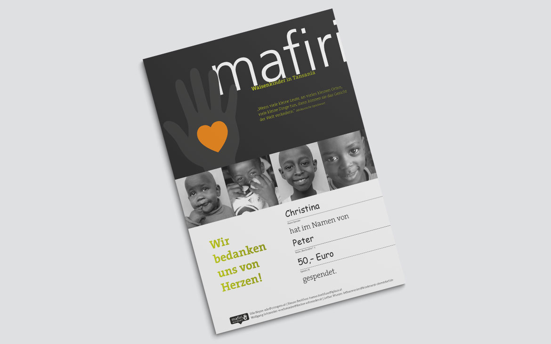 Mafiri Waisenhaus Spendenurkunde