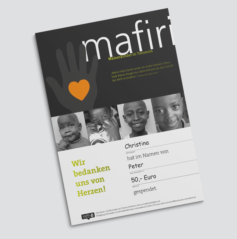Mafiri Spendenquittung
