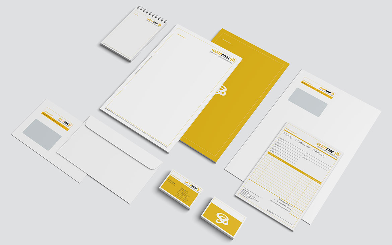 tecnoseal Corporate Design mit Briefpapier und Notizblock