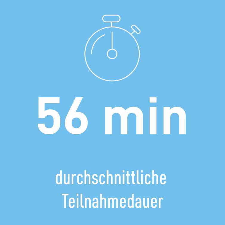56 Minuten durchschnittliche Teilnahmedauer