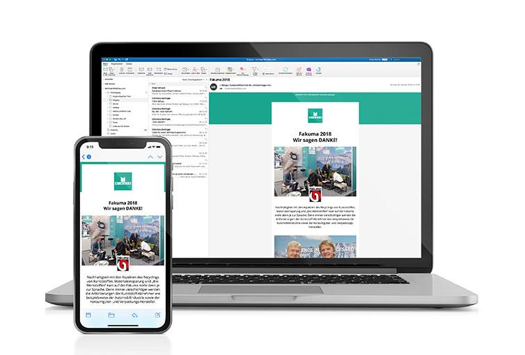 Minger Newsletter für Fakuma Messe Danke auf Desktop und Mobile