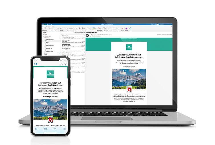 Minger Newsletter für Fakuma Messe auf Desktop und Mobile