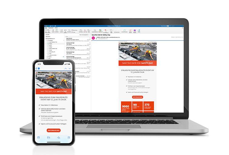 Screenshots von Sobral Newsletter Save-The-Date zum Safety-Day in Chur