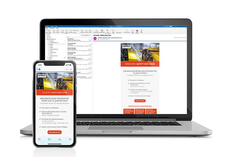 Screenshots von Sobral Newsletter Reminder zum Safety-Day in Chur