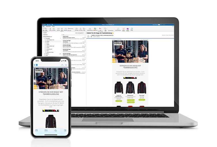 Screenshots von Sobral Newsletter zur Teambekleidung